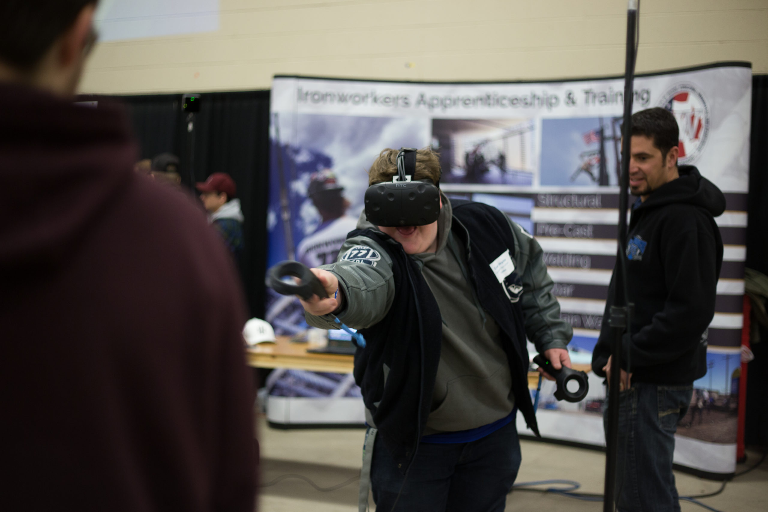 student in vr headset